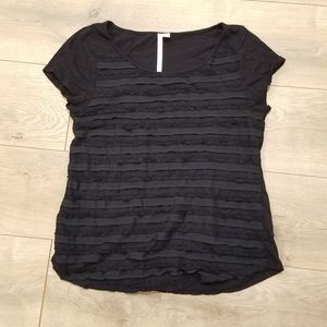 LC Lauren Conrad Chiffon Top Black {Medium}